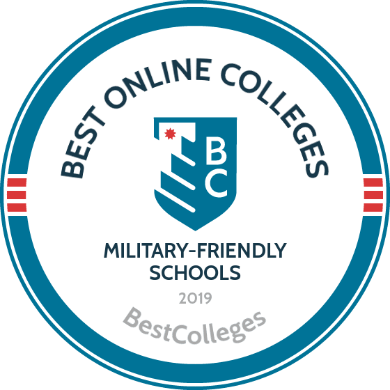 Badge: bestcolleges.com top military-friendly colleges 2019